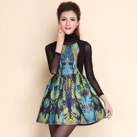 2014 autumn winter desigual women stylish HIGH STREET printed casual dress+long sleeve black bottoming B1082