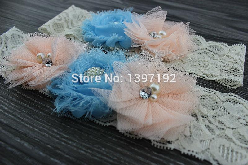 MOQ 2pcs Wedding Bridal Garter Set ,Ivory cream vintage lace garter set, something blue aqua keepsake garter WW007(China (Mainland))