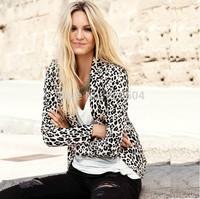 2015 New Arrival Women Leopard Slim Long Seelve Blazer Jacket Ladies Blaser Terno Feminino Blaiser Cloth Plus Size XS-XXL HZ098