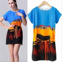 2014 European Style Women Summer Dress Animal Printing Patchwork Casual O-Neck Short Sleeve Woman Slim Clothes CL1880