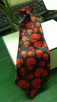 2014 Hot Sale Easter Day Red Skull Heads Polyster Printing Children Necktie