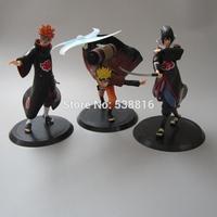 Free Shipping Anime Uzumaki Naruto + Pain + Uchiha Sasuke PVC Action Figure Model Toys 3pcs/set