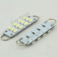 Wholesale 500pcs 44mm 12 smd 12 Led 1210 Led light Car bulb Auto Interior Dome Lamp Door Lights