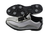 Free Shipping New Style Leather Golf Shoes Waterproof Lace-up Sports Shoes With Black and Sliver
