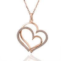 Wholesale Fashion 18K Rose Gold Plated Jewelry Necklace Pendant Double Hearts CZ Crystal N003