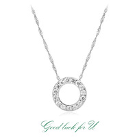 Loose money promotion, Drop Shipping,Wholesale jewelry 925 Sterling Silver Crystal circle pendant Necklace