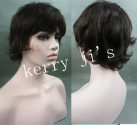 Short Hairstyle Trend Elegant 100% Human Remy Hair about 8Inch Dark Brown Cheap Wig FREE SHIPPING