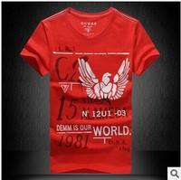 2014 Summer Men's Fashion  print Cotton T shirt   Brand high quality round collar sport Casual T shirts in USsize L XL XXL XXXL