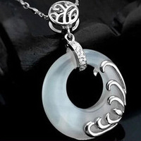 Free Shipping White Opal Pendant silver zircon pendant Necklace Jewelry China Post Air Mail
