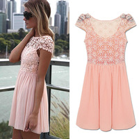 6 FreeShip CH890 S M,LXL,Elegant Cute Women Casual Dress 2014 NEW Embroidery Hollow Lace Brand Fashion Evening Celebrity Dress