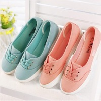 Hot New 2014 shoes woman canvas shoes fashion breathable women students flats Candy color shallow mouth flat shoes free shipping