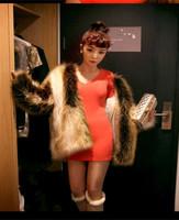 2014 new women's fashion coat China elegant luxury genuine fox fur artificial mixing short and long-haired fur coat