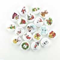 Wholesale Free Shipping 100 Pcs Wood Sewing Buttons Scrapbooking 2 Holes Mixed Christmas Pattern 15mm Knopf Bouton(W03918)