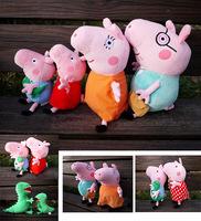 Free shipping 4Pcs/Lot Kids Girls 19CM Plush George Peppa Pig Family Toys 30CM Daddy Mummy Pig Stuffed Pelucia Pig Familia Set