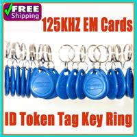 100pcs/1lot 125Khz TK4100 Keychain Keyfobs Em RFID Cards Control Access Token Tag Key Ring Proximity Card