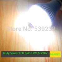 12W E27 warm white/White Light Body Infrared Sensor PIR Motion Sensor Detection LED Lamp Bulbs AC220V