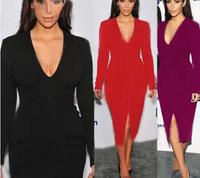 2014 New Women Fall Elegant Long Sleeve V-neck Party Dresses Solid Cotton Blend Knee-Length Pencil Dresses CD1396