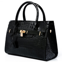 High quality Women shoulder bags Fashion famous brand design handbag Twist lock bag Alligator Pattern leather clutch bags WH108