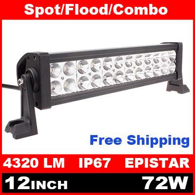 12 Inch 72W LED Light Bar for Off Road Indicators Work Driving Offroad Boat Car Truck 4x4 SUV ATV Fog Spot Flood Combo 12V(China (Mainland))