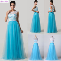 2014 New Design Grace Karin Lace&Tulle Sleeveless Wedding Party Ball Evening Gowns Vestidos Long Prom Formal Dresses AL16 CL6124