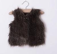 5pieces/lot, 2014 Winter Children Girls white Fur Vest, 2-8years, A-g-080