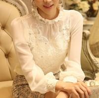 XXXL 2014 autumn and winter plus size women long-sleeve embroidery lace blouse beading basic chiffon shirt top roupas femininas