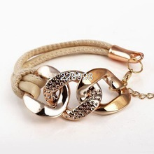 2014 Hot Sale New Style Fashion Gold Chain Female Three Circle Leather Bracelets Cheap Exquisite Bracelets