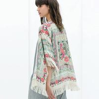 New Autumn Free Shipping Women's Printed Chiffon Fringed Shawl Coat Sunscreen Cardigan Jacket