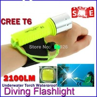 New 2100LM CREE T6 LED Waterproof underwater scuba Dive Diving Flashlight Dive Torch light lamp for diving