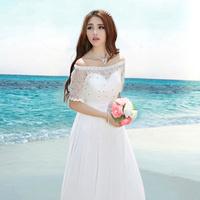 Olisa fairy beach wedding dress 2014 fashion cute elegant handmade beading diamond formal bride dress long maxi party prom dress