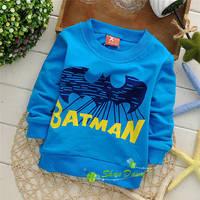 2014 Autumn Child Boys Bat printing letters cartoon T-shirts,Children Fashion Tops,4pcs/lot,V1330