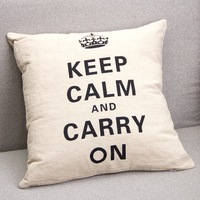 2014 Vintage Printed Keep Calm and Carry On Linen Cushion Cover  Pillow Case for Sofa Bedding Couch Home Decor