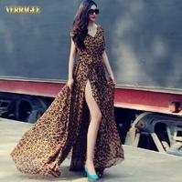 Fashion Slim Chiffon V-neck Batwing Sleeve Ultra Long Sexy Leopard One-piece Dress Floor Length Plus Size Dress