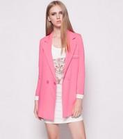 2014 Autumn new fashion coat women European long-sleeved coat solid color blue&pink suit two button Slim Women coat