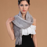 050303a Good quality knitted Real mink Fur Scarf  women wrap cape winter Neck Warmer Poncho Shawl Stole