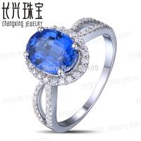 7x9mm Oval Blue Kyanite 0.36ct Diamonds 14kt  White Gold Engagement Wedding Ring