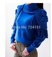 Shoulder hook flower flowers fringed shawl collar  turtleneck sweater