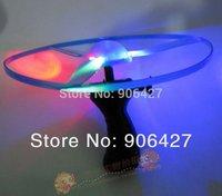 5PC Xmas Gift 3 Led Flashing Flying Saucer Pull String Toy