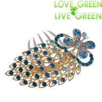 butterfly 2014 18kgp brand  women bridal wedding rhinestones hair comb accessories Headress hairpins hairbands jewelry 619