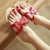 new PU composite sole sweet bowknot slipper flat base Soft Leather big size women slipper