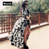 Fashion Slim Print Chiffon Lantern Sleeve Ultra Long One-piece Dress Floor Length sunscreen Plus Size Dress
