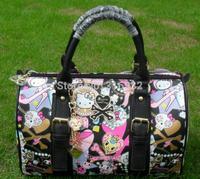I2 So cute! Hello Kitty black skull series PU bag portable handbag cross-body multi-purpose bag