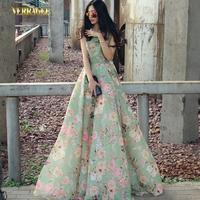 Fashion Slim Print Chiffon Sleeveless Ultra Long One-piece Dress Floor Length Green Plus Size Dress