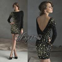 HL-PD916 Haute Couture Wayer Short Sheath Low Back Black Cocktail Party Dresses Golden Crystals 2014 vestido tubinho de festa