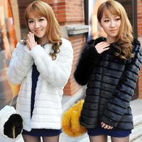 new 2014 free shipping  Artificial fur  winter women's rex rabbit hair fur coat  vest  women dress