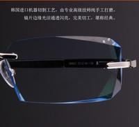 2014 promotion top fashion eyeglass frames eyeglasses frame diamond frameless glasses heterochrosis men myopia plain glass lens