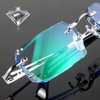 2014 new myopia diamond glasses heterochrosis men commercial ultra-light titanium rimless eyeglasses frame finished products