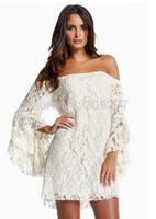 vestidos dress long Cream Lace Off-The-Shoulder Mini sweet winter Dress LC2809 preppy dress new 2014