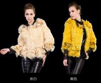 M-2XL New Women's Winter Fashion Three Quarter Lamb Fur Coat With Fox Fur Collar and Hem 0831C , Free Shipping
