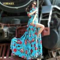 Fashion Slim Print Chiffon Backless Ultra Long One-piece Dress Floor Length Green Plus Size Dress
